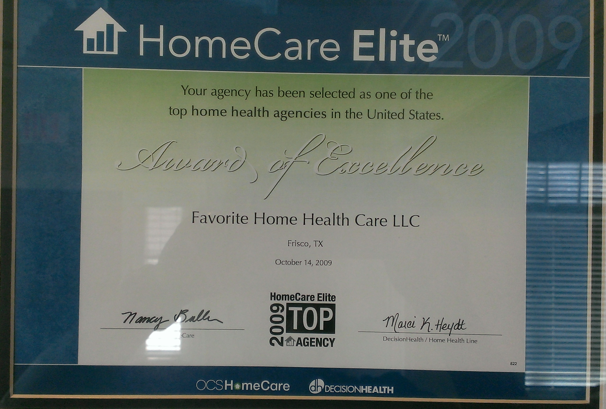 HomeCare Elite Award of Excellence
